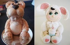 baby bunny suit cake topper and teddy bear suit via Pinterest