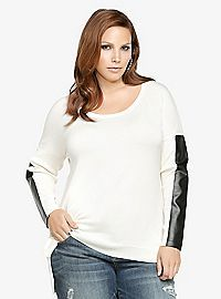 TORRID.COM - Faux Leather Sleeve Sweater