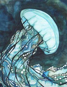 AQUA Sea Nettle Jellyfish 8.5 x 11 print of von DeepColouredWater