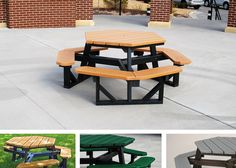 Noahs Park and Playgrounds - Hex Table - Made from various sized Resinwood slats. Available with black or green frame and available for quantity orders. ADA models available. Heavy duty, zinc coated hardware standard. www.noahsplay.com has a variety of ADA options for park tables.