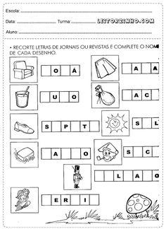 Recorte letras de jornais ou revistas e complete o nome de cada desenho