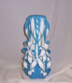 Carved candle# blue and white candle