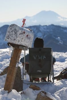 The eponymous Mailbox, Mount Rainier - even the occasional place to sit - you never know what you'll find up here. -- Have read go up the old trail, down the new trail. Photo by Paul Kriloff Bike Trails, Hiking Trails, Mount Si, Old Mailbox, Snoqualmie Pass, North Bend, The Mountains Are Calling, Go Hiking, New Forest