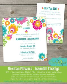 Mexican Flowers Folklorico Fiesta Wedding Invitation RSVP - DIGITAL FILE- Rehearsal Dinner, Bridal Shower, Baby Shower, Party, Package on Etsy, $55.00