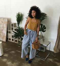 camel cropped tank + blue and white stripe wide leg pants + wicker purse + navy slippers