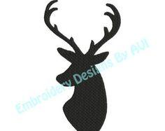 Cabeza de ciervo conjunto de minimalista gris 3, dibujo, negro las cornamentas silueta, Ilustración de decoración de pared, tinta cartel Animal abstracto por ColorWatercolor