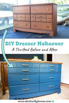 This in-depth furniture flip turns a thrifted dresser into a practical pull-out hamper. Includes detailed photo and video tutorials! Diy Furniture Flip, Thrift Store Furniture, Furniture Projects, Easy Diy Projects, Home Projects, Project Ideas, Diy Dresser Makeover, Furniture Makeover, Antique Furniture Restoration