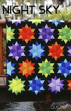 Night Sky Quilt Pattern by Jaybird Quilts. Hancocks of Paducah offers a wide selection of Pattern by Jaybird Quilts Amische Quilts, Colchas Quilt, Jaybird Quilts, Star Quilts, Patchwork Quilting, Quilt Top, Quilting Room, Crazy Quilting, Quilt Blocks