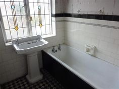 Two bathrooms with bold tile house beautiful 1930s and for 1930 s bathroom decor