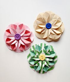 Handmade Paper Flower / Wrapping Bows - 3 Pack by LaurenHonakerDesign