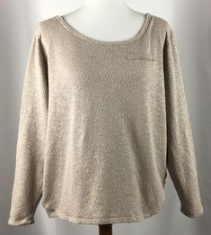 Lane Bryant Women Pullover Sweater Size 18 20 Beige Lace Side Insets Long Sleeve #LaneBryant #Sweater #Casual