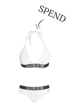 We've rounded up the top styles to bare all in this summer, whether you want to spend or save. White Slogan Calvin Klein Swinsuit #swimsuit#bridesmaid#sloganswimsuits#BridalParty
