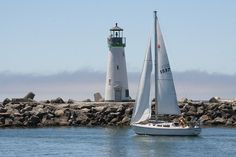 Breakwater lighthouse at the entrance to the Santa Cruz Yacht Harbor