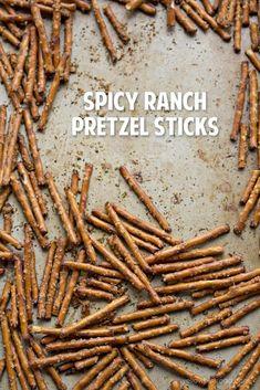 Spicy Pretzels, Ranch Pretzels, Seasoned Pretzels, Cinnamon Sugar Pretzels, Pretzels Recipe, Pretzel Seasoning Recipes, Best Appetizers, Appetizer Dips, Appetizer Recipes