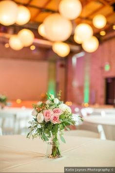 Wedding centerpiece ideas - indoor, summer, roses, flowers, pink, white, greenery {Katie Jaynes Photography}