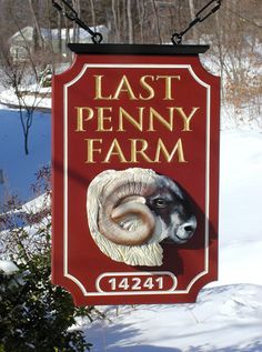 Last Penny Farm Sign / Danthonia Cabin Signs, Farm Signs, Pub Signs, Wood Signs, Sign Board Design, Sign System, Restaurant Signs, Beautiful Farm, Store Signs