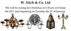 We will be closing for #Christmas at 4:30 pm on #Friday the 22nd, and reopening on #Tuesday the 2nd of #January.  #craftsman at #WORK #artisan #soho #lighting #antique #vintage #renovation #repair #workshop #forsale