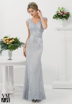 71116 Evening Gowns / Dresses Stretch Lace with Beaded Appliques and Edging Silver