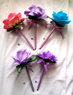 Ribbon wrapped flower pens with many patterns by RestlessOldLady