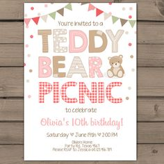 Teddy Bear Picnic Girl Birthday Invitation Pink  Cumpleaos
