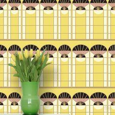 Tapeta ATADesigns Elegant -  Żółta tapeta z grafiką Art Deco, z motywami architektonicznymi.