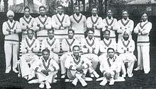 The 1932 Indian Test Cricket team that toured England. Nazir Ali is seen sitting fifth on the bench starting with his brother, Syed Wazir Ali C. K. Nayudu, the Maharaja of Porbandar (Captain), K. S. Limbdi (Vice-captain).