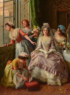 "ANDREOTTI, Federico ""Awaiting the Bridegroom"" Oil on canvas Signed on the lower right: F. Andreotti Label on the reverse: Dominion Gallery Montréal, Federigo Andreotti ""Awaiting the Bridegroom"", No. - Provenance: George et Shirley Moore foundation Romantic Paintings, Classic Paintings, Old Paintings, Paintings I Love, Beautiful Paintings, Victorian Paintings, Victorian Art, Rococo Painting, Molduras Vintage"