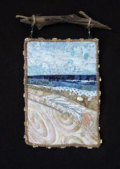Ocean Quilt, Beach Quilt, Small Quilts, Mini Quilts, Fiber Art Quilts, Landscape Art Quilts, Bargello Quilts, Fabric Postcards, Miniature Quilts