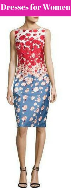 summer -Cocktail-Dress- Blue-Red -evening party-Sleeveless – Floral- Dress- products