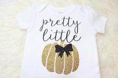 Pretty Little Pumpkin Gold Glitter Halloween Shirt, Halloween Onesie, Babys First Halloween, Glitter Halloween Shirt by BellesandBeausInc on Etsy