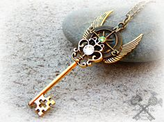 Steampunk Crystal Winged Compass Key Necklace by ArtbyStarlaMoore