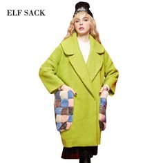 ELF SACK 2017 Fur Pockets Women Winter Wool Coats Womens Long Thick Loose Turn Down Collar Office Lady 100% Polyester Wool Coats