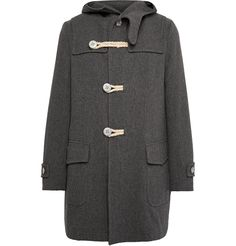 Kolor - Melton Wool-Blend Duffle Coat | MR PORTER Kolor took design cues from traditional World War II outerwear styles to craft its smart charcoal duffle coat. It's made from a warm Melton wool-blend and finished with rope toggle closures. Layer yours over a sweater and tapered trousers on chilly days.
