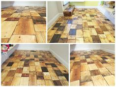 Using free pre-cut pieces of wood from a pallet rehabber, I redid our pantry floor for less than $100. After collecting all the pieces and assembling them, I made a &qout;grout&qout; using sawdust, polyurethane, and mineral spirits. A couple coats of semi-gloss polyurethane and we have a completely custom, on…