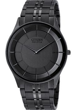 Citizen Men's Stiletto - The Citizen Eco Drive is unstoppable, just like the people who wear it. Fueled by light, its energy cell stores enough power to run for six months, even in the dark. The Stiletto sports a sleek black ion-plated stainless steel case and black ion-plated crown.