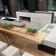 Thumbnails of the outdoor kitchen concept presented by Milan Modulnova in Milan. With solid oak & Pietra Piasentina Backyard Kitchen, Outdoor Kitchen Design, Outdoor Kitchens, Used Outdoor Furniture, Outdoor Decor, Rustic Furniture, Parrilla Exterior, Pergola, Bbq Area