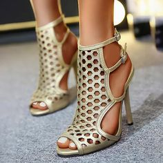 Hollow Out Open-toe Heeled Stiletto Sandals