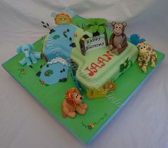 Jungle cake | Number one shaped cake for a little boy. Jungl… | Flickr