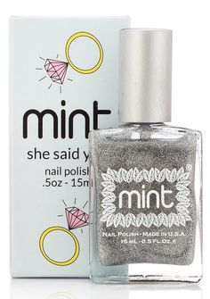 Mint Nail Polish in She Said Yes! is a gorgeous sparkly lacquer. Wear it on your bling finger on the big day!