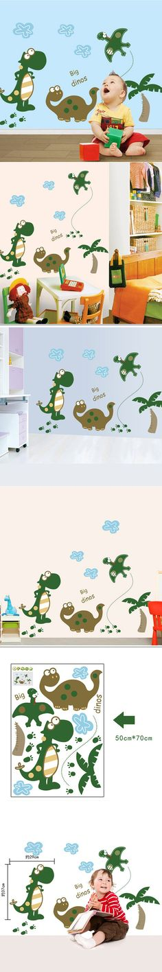 Animals Wall Stickers For Kids Rooms Cute Big Dinos Pegatinas Papel De Parede Infantil Nursery Mural Wall Art Decals Home Decor $5.82