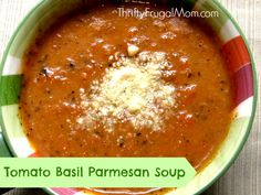 This tasty Tomato Basil Parmesan Soup is loaded with veggies and can be prepared on the stove top or crockpot. Easy, healthy and delicious!