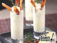 Verrines chantilly au camembert et jambon cru