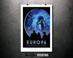 NASA Space Travel Poster - EUROPA Discover Life Under The Ice - Father's Day Gifts for Dad, Retro Tourism Sci Fi Fantasy Space Age Art Print by TheRetroPoster on Etsy