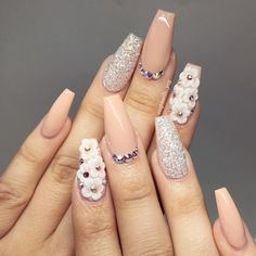 Beige Nail Art is part of Mermaid Blue nails Aqua - cute nail art design Beige Nail Art, Beige Nails, Glam Nails, Hot Nails, Hair And Nails, Nude Nails, Glittery Nails, Stiletto Nails, Coffin Nails