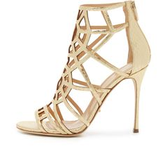 Sergio Rossi Puzzle Sandals (21,715 MXN) ❤ liked on Polyvore featuring shoes, sandals, heels, leather strap sandals, snake print sandals, leather sole sandals, leather sandals and metallic strappy sandals