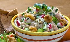 Mollie Katzen's recipe with walnuts has 47% less calories than traditional Tuna Salad and features the crunch of heart healthy California walnuts.
