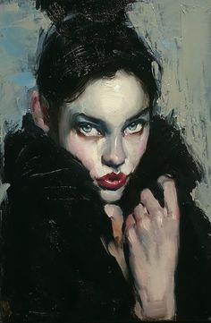 """Black Cape"" - Malcolm T. Liepke (b. 1953), oil on canvas, 2015 {figurative #impressionist art beautiful female head hand woman face portrait painting #loveart}"