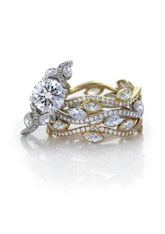 De Beers Adonis engagement ring and wedding bands