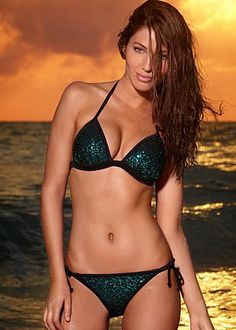 Sequin Enhancer Triangle top and Sequin String Bottom bikini in emerald (also available in aquamarine, cobalt, jet black, lipstick pink, white and plum)
