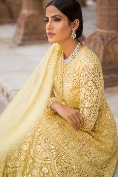 Yellow Net Indo Western Dress